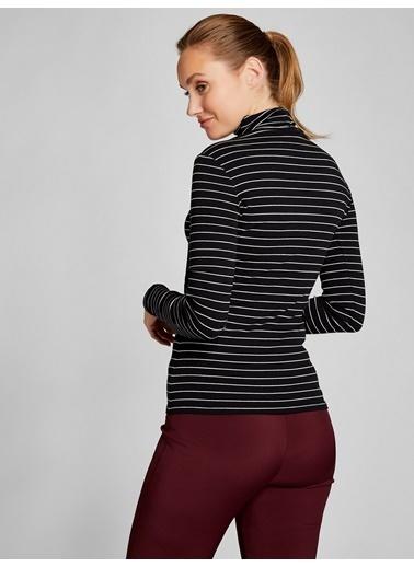 Vekem-Limited Edition Balıkçı Yaka Çizgili Bluz Siyah
